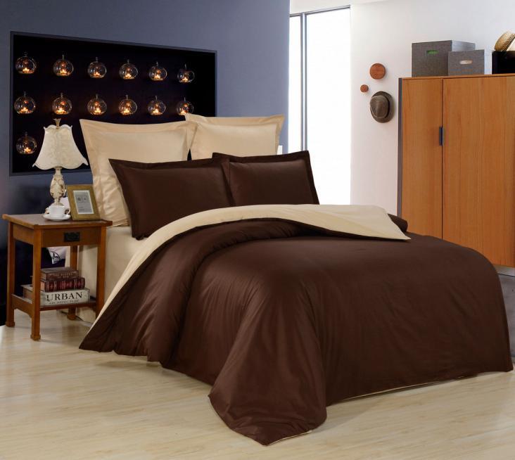 Шоколадно бежевый комбинированное постельное белье