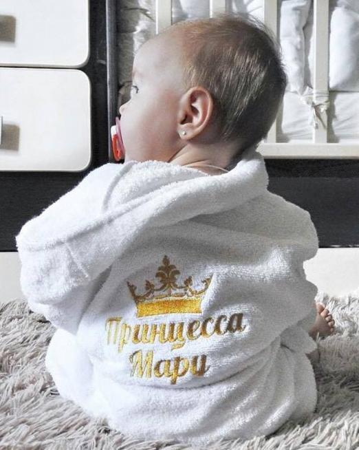 Детский халат с капюшоном и вышивкой персональной